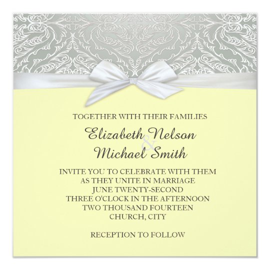 Ribbon Yellow/Silver Lace Damask Wedding Invite