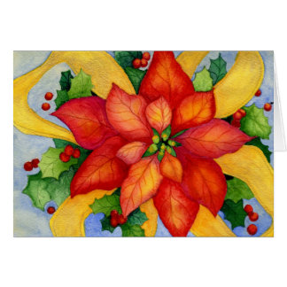 Ribboned Poinsettia Christmas Card