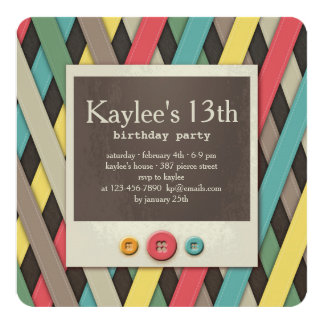 Ribbons and Buttons Invitation