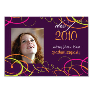 Ribbons/swooshes Graduation Invitation Photo/plum