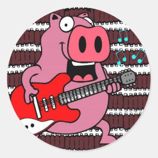 ribs rock pig classic round sticker