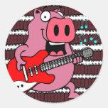 ribs rock pig round sticker