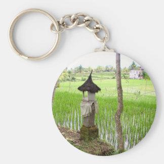 Rice Paddy, Temple, Ubud Bali, Indonesia Basic Round Button Keychain