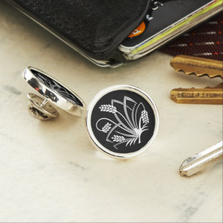 Rice plant butterfly lapel pin