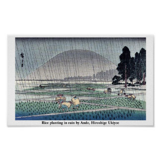 Rice planting in rain by Ando, Hiroshige Ukiyoe Poster