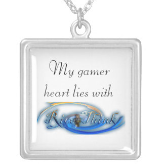 Rice-Think Gamer Heart Square Pendant Necklace
