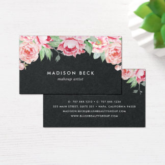 Rich Black & Blush Pink Peony Business Card