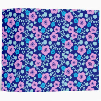 Rich blue and pink floral pattern Japanese Plum 3 Ring Binder