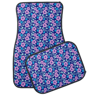 Rich blue and pink floral pattern Japanese Plum Car Mat