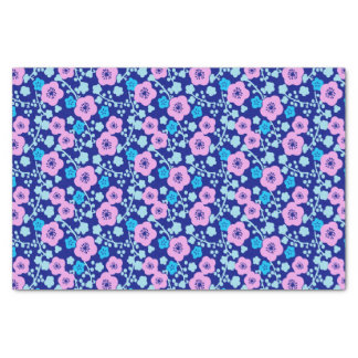 Rich blue and pink floral pattern Japanese Plum Tissue Paper