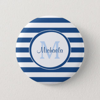Rich Blue Even Stripes Sleek Name and Monogram 2 Inch Round Button