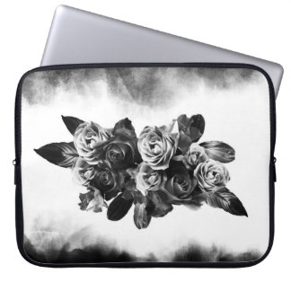 Rich bouquet of roses in black and white laptop sleeve