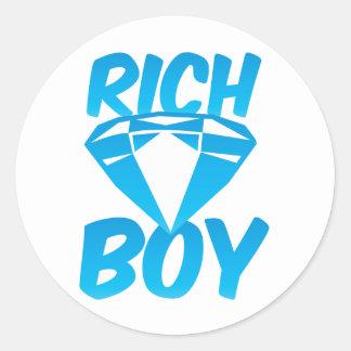 Rich boy round stickers