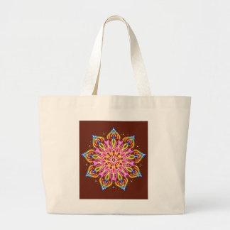 Rich brown mandala large tote bag
