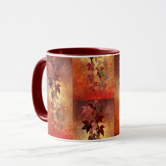 Rich Burgundy/Autumn Colors & Leaves Coffee Mug