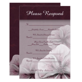 Rich Burgundy Pink and White Floral RSVP Card