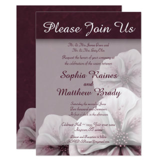 Rich Burgundy with Pink Flowers Card
