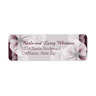Rich Burgundy with Pink Flowers Return Address Label