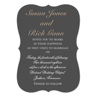Rich Charcoal Wedding Invitations