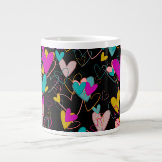 Rich Colors Beautiful Hearts Strong Love Charming Large Coffee Mug