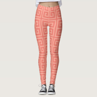 Rich Coral Greek Key Leggings