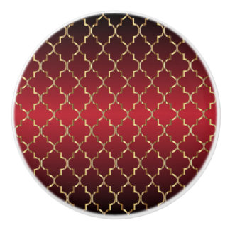 Rich Deep Red and Gold Quatrefoil Ceramic Knob