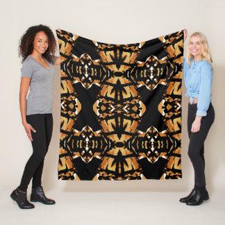 Rich Earthtone Mosaic Blanket-Rust/Tan/Black/White Fleece Blanket
