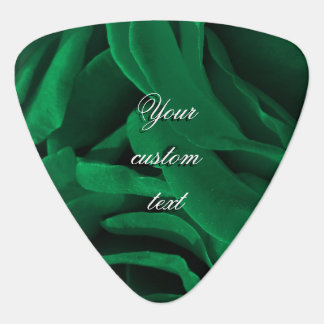Rich emerald green velvety roses floral photo guitar pick