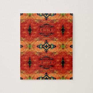 Rich Fall Orange Yellow Tribal Pattern Puzzle