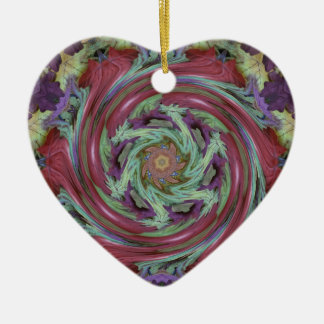 Rich Fall Toned Artistic Spiral Abstract Ceramic Heart Ornament