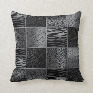 Rich Gray and Black Jungle Animal Patterns Throw Pillow