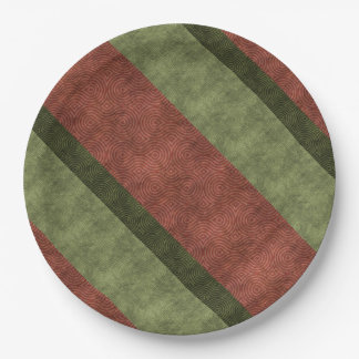 Rich Green and Wine Uneven Stripes 9 Inch Paper Plate