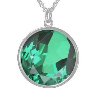 Rich green Emerald May birthstone Sterling Silver Necklace