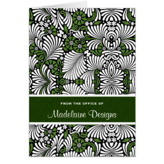 Rich Green with White Leafy Fronds Note Card