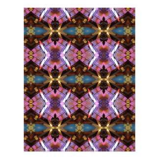 Rich Jewel Tones Abstract Fractal Tribal Pattern Letterhead Template