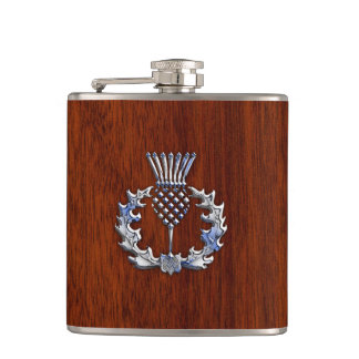 Rich Mahogany Wood Scottish Thistle Print Hip Flask