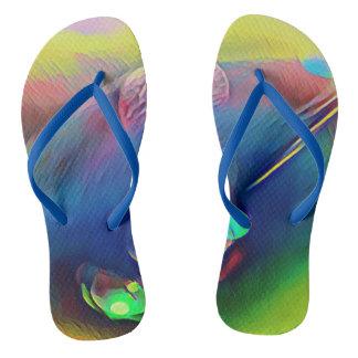 Rich Multi-Color Modern  Pattern Flip Flops