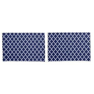 Rich Navy Blue and White Quatrefoil Pattern Pillowcase