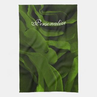 Rich olive green velvety roses flower photo kitchen towel