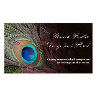 Rich Peacock Feather with Green Moss Business Card