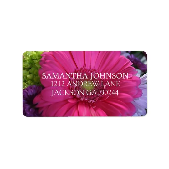 Rich Pink Daisy Address Labels