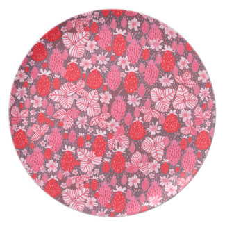 Rich Pink & Red Field Strawberries Party Plates