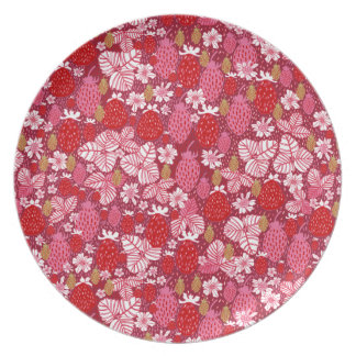 Rich Pink, Red & Gold Field Strawberries Dinner Plate