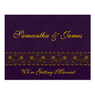 Rich Purple Wedding Postcard