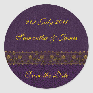 Rich Purple Wedding Round Sticker