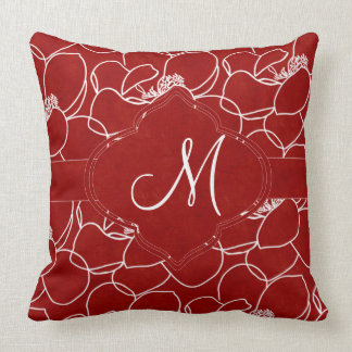 Rich Red and White Magnolia Monogram Throw Pillow