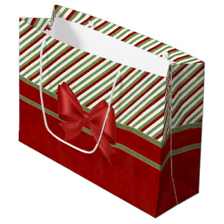 Rich Red Candy Stripes and Bow Large Gift Bag