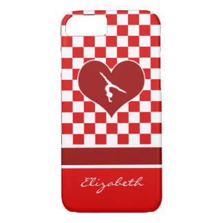 Rich Red Checkered Gymnastics with Monogram iPhone 7 Case