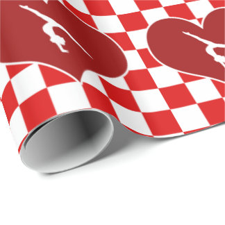 Rich Red Checkered Gymnastics Wrapping Paper