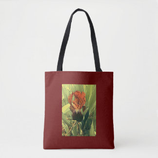 Rich red iris tote bag